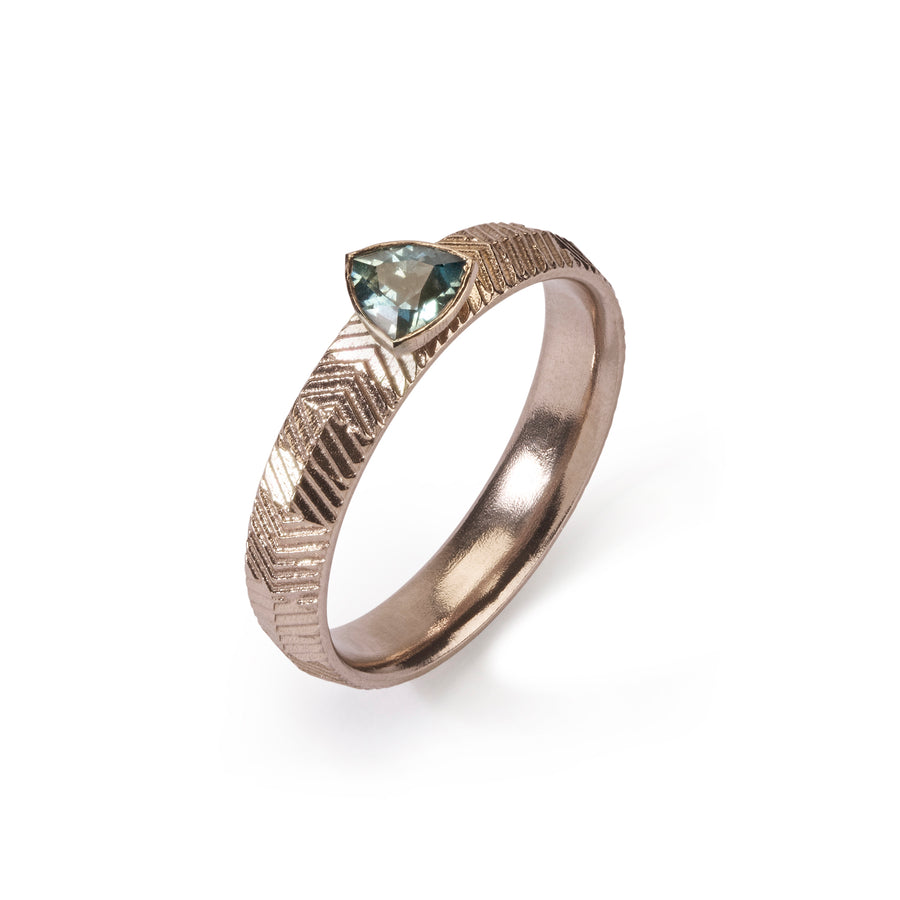 4mm Ridged Contour Ring with Trillion cut Malawi Sapphire