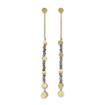 Chain Hex diamond drop earrings