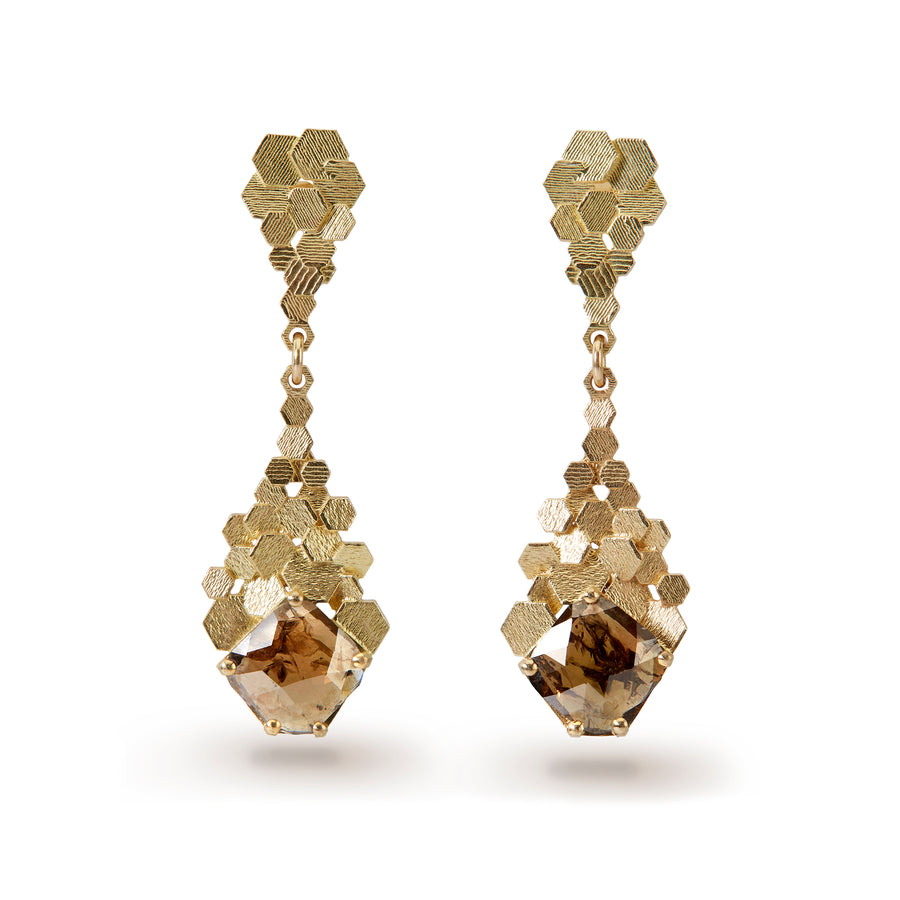 Chaos hex drop earrings with rose cut diamonds