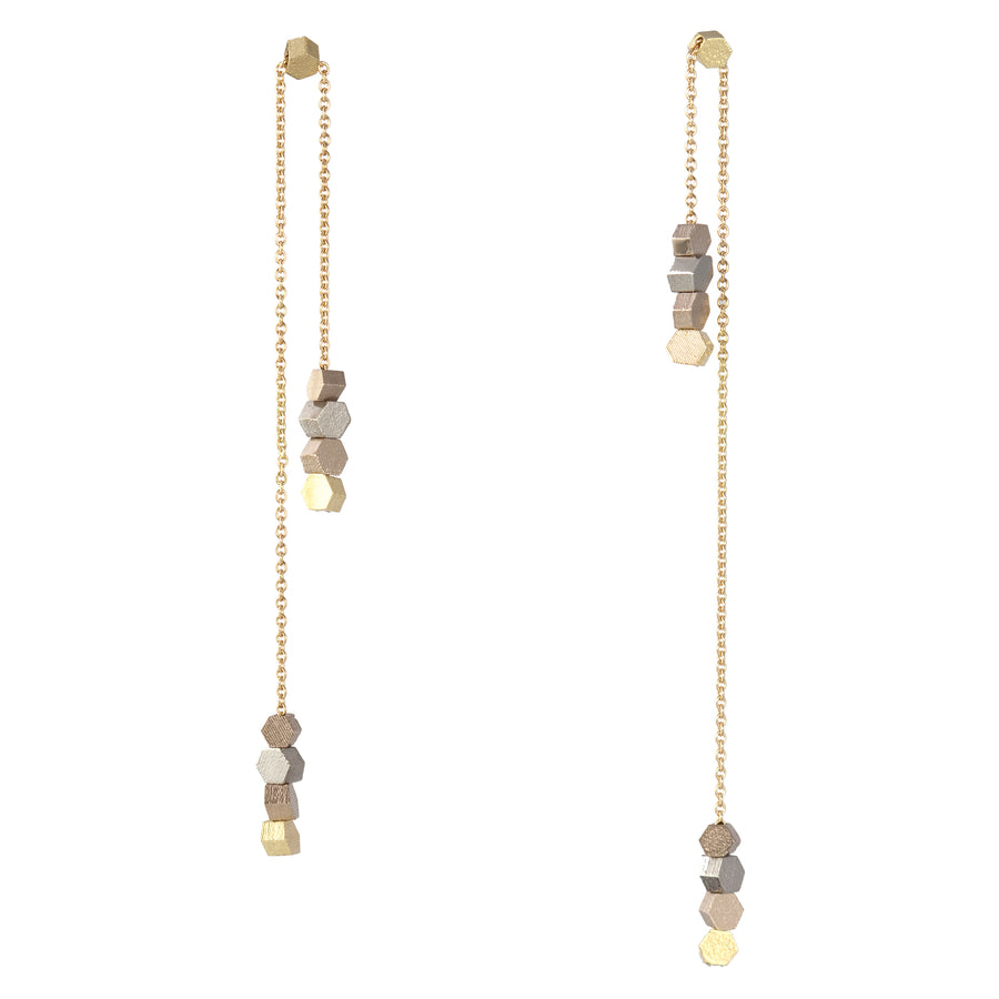 Double long chain hex drop earrings