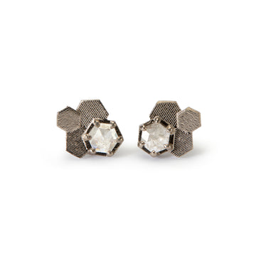 Chaos hex studs with hexagonal rose cut diamonds