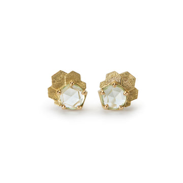 Aquamarine Chaos Hex Stud Earrings