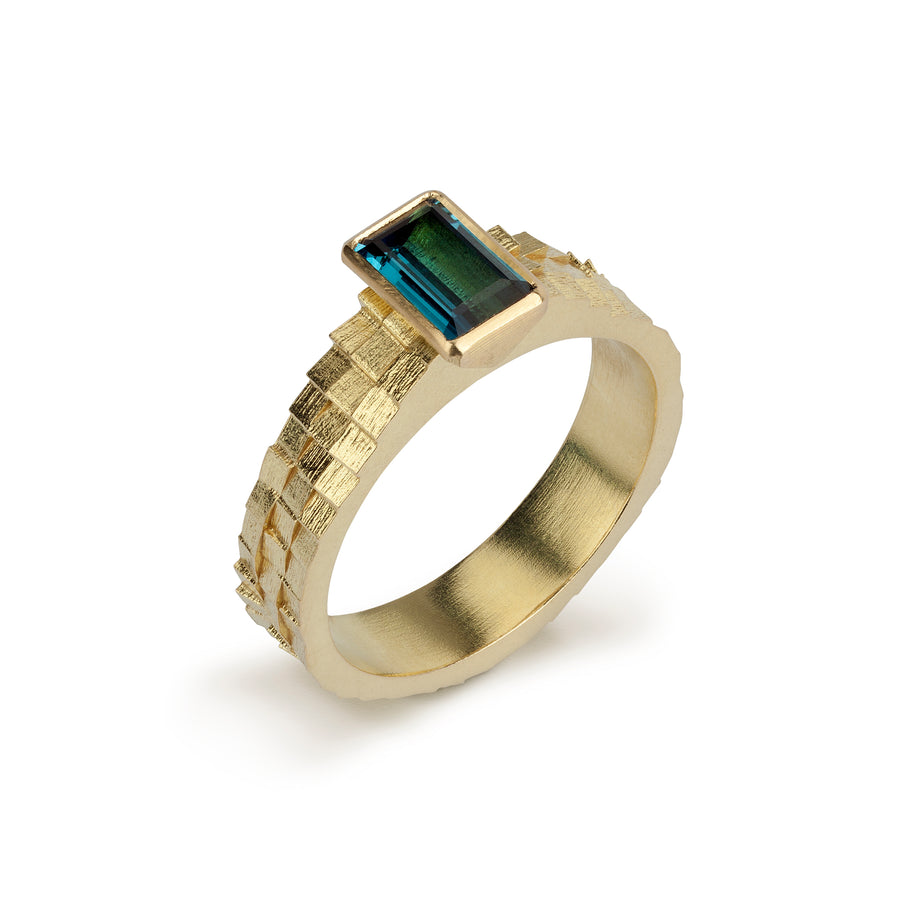 Triple square band with 7x4.5mm tourmaline