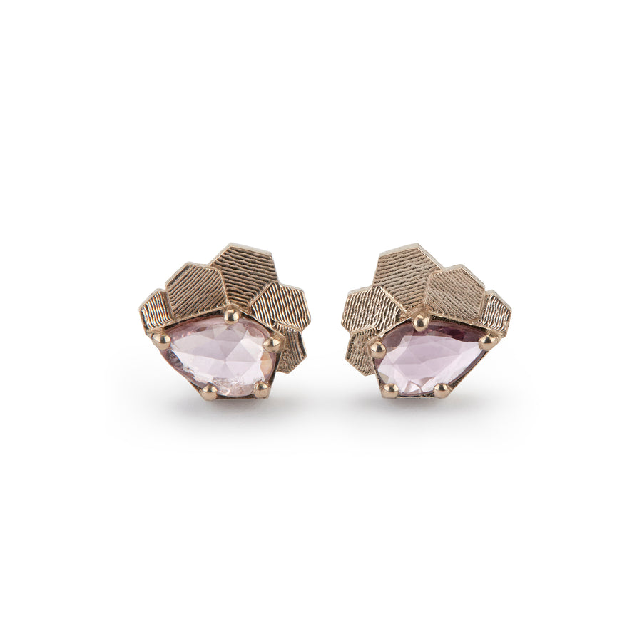 Chaos hex studs with pink pear shaped sapphires