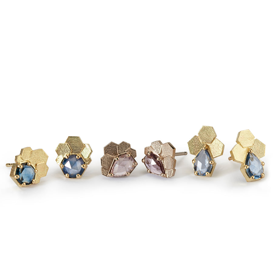 Fan hex studs with blue round sapphires