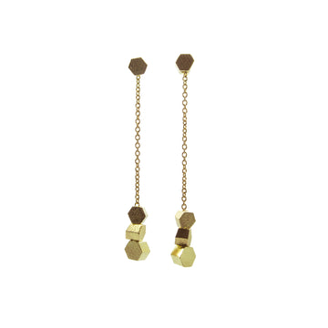 Short chain hex drop earrings
