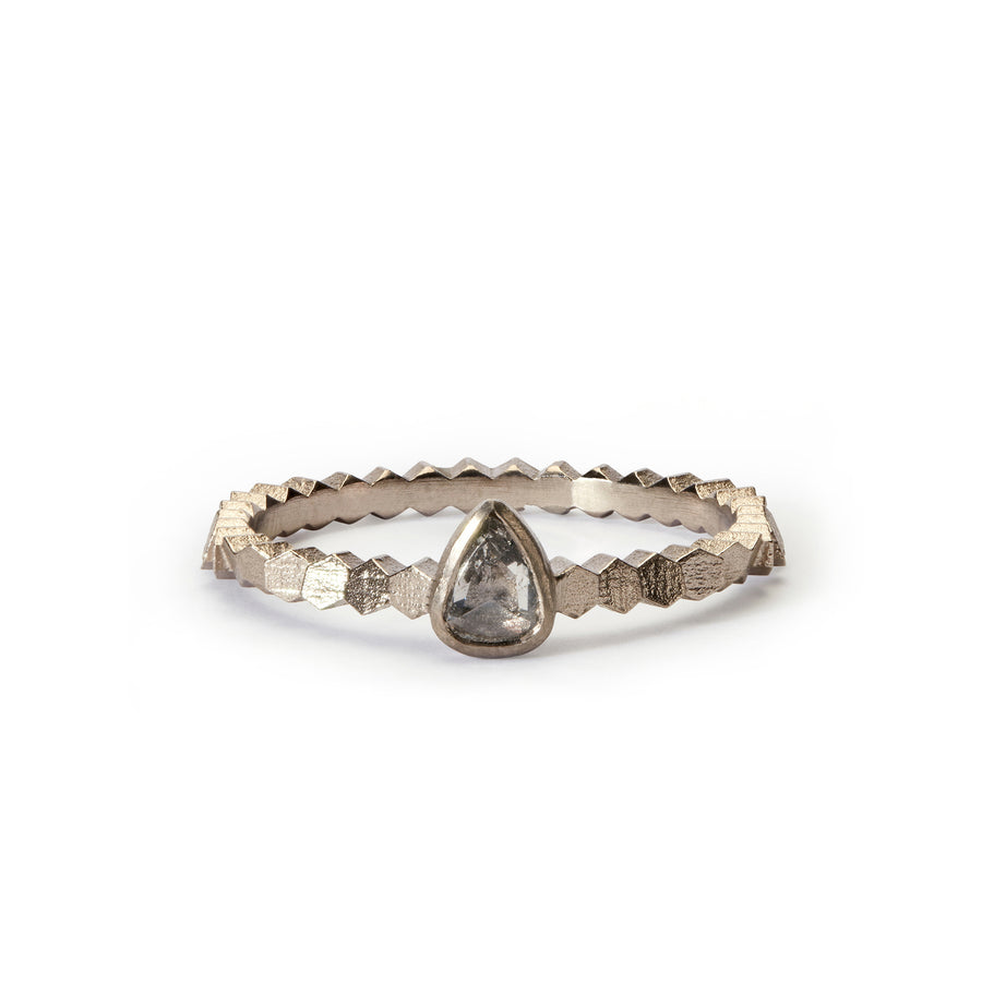 Single hex ring with 4.5x3.6 pear shaped rose cut diamond