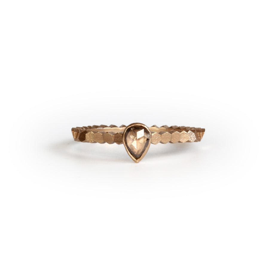 Single hex ring with pear shaped rose cut diamond