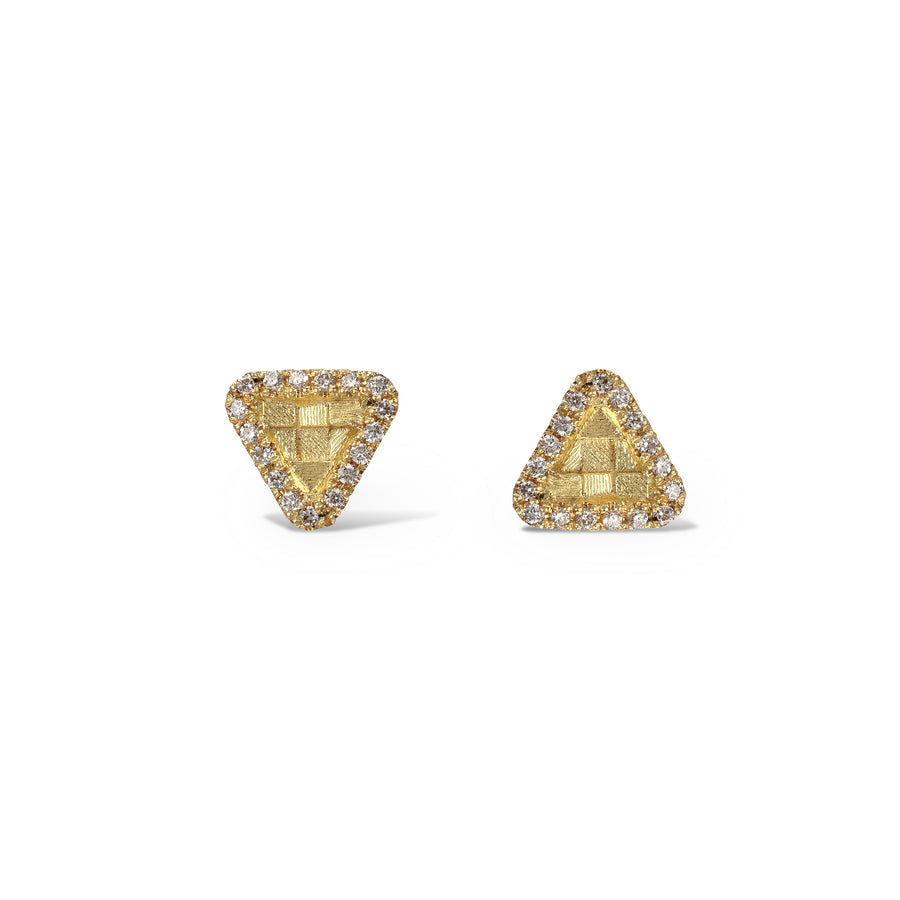 Small triangular stratus stud earrings
