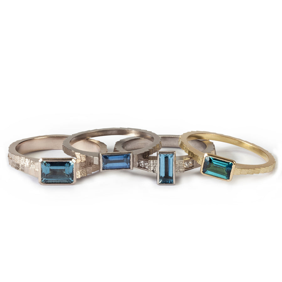 2.5mm square band with baguette aquamarine and diamonds