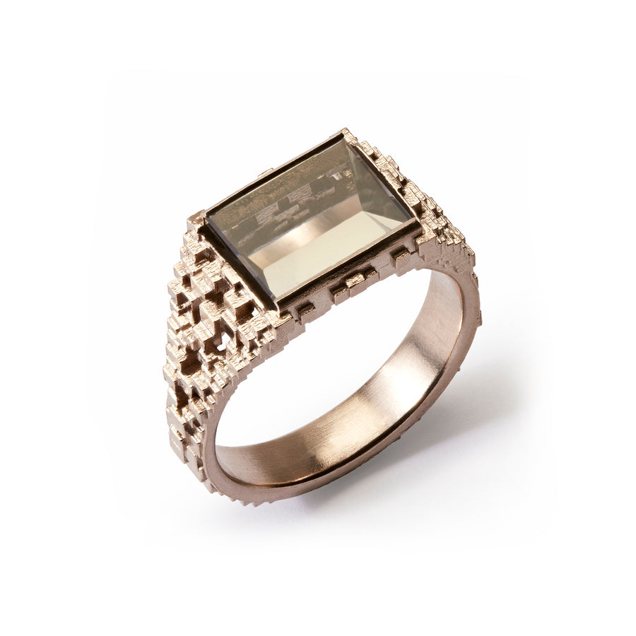 Tapered Cube Ring with Grey Tourmaline