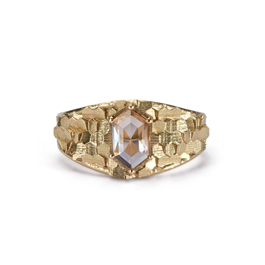 Tapered hex ring with long hexagonal diamond