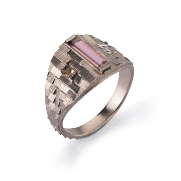 Tapered deco ring with pink tourmaline and brown diamonds