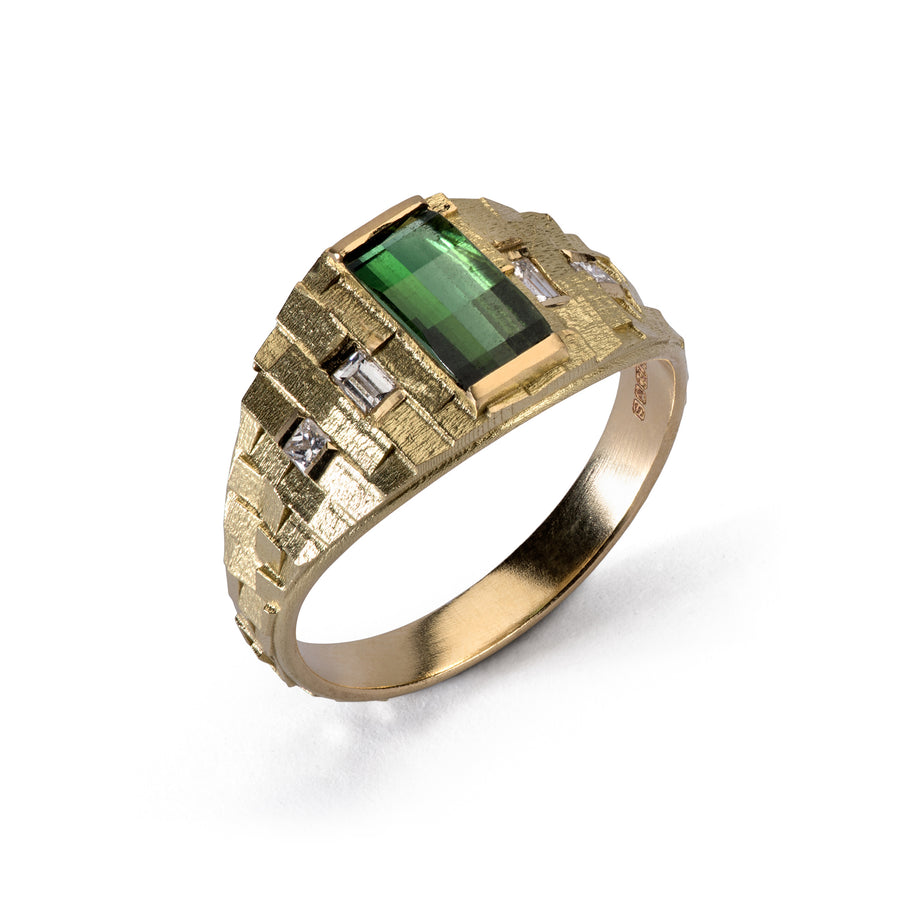 Tapered Deco ring with Green tourmaline