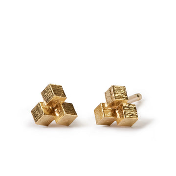 Small Three Cube Grid Stud Earrings