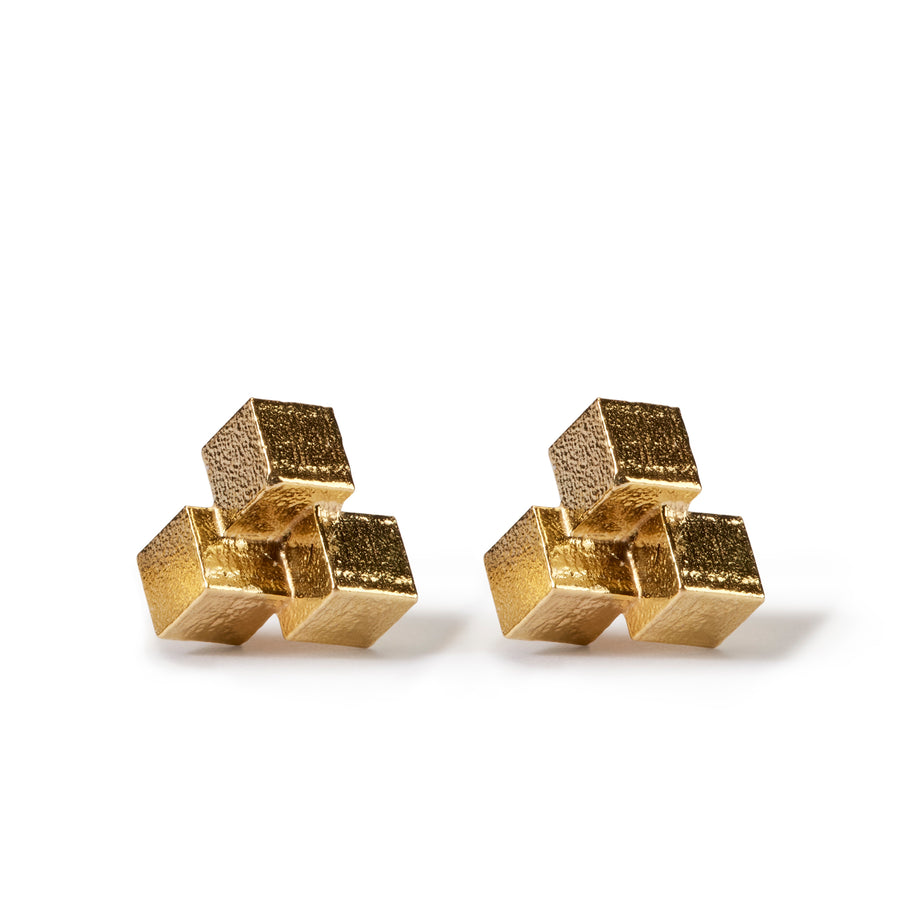 Medium Three Cube Grid Stud Earrings