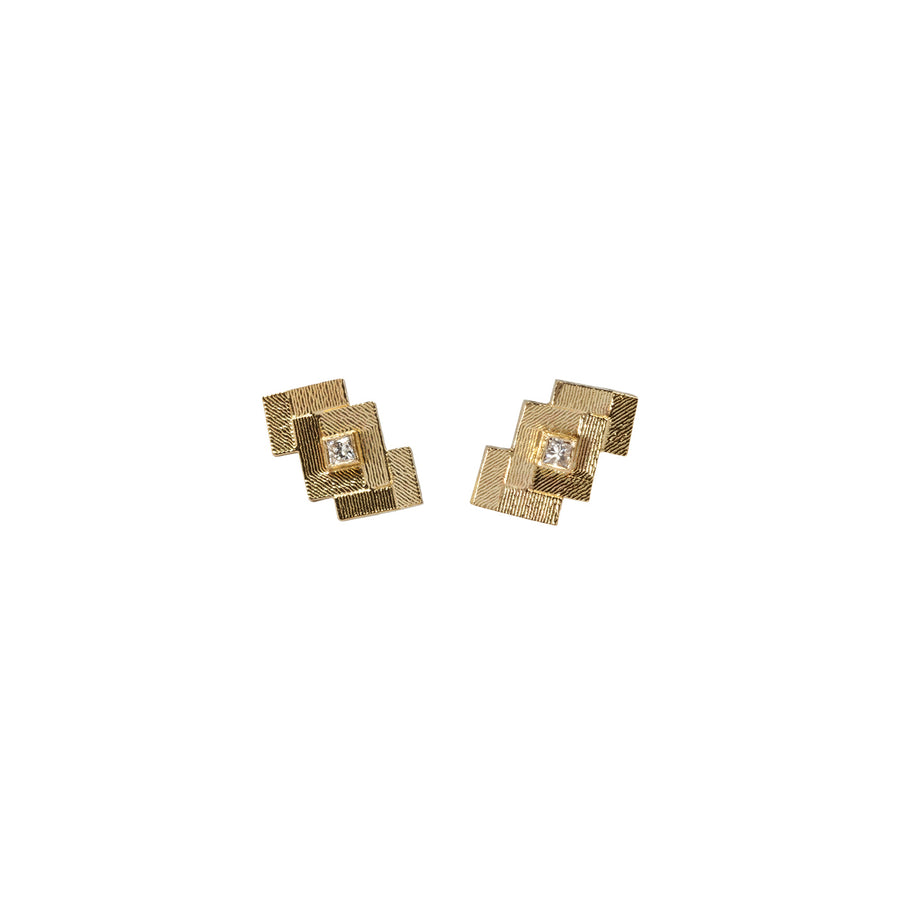 Double Chevron Parquet Stud Earrings