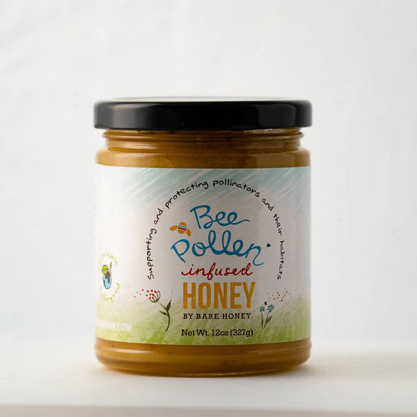 Bee Pollen Infused Spreadable Honey | 12 oz Glass Jar