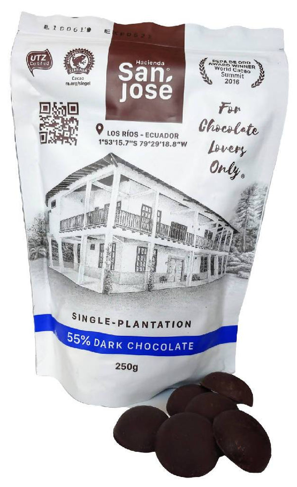 Chocolate bite size by Hacienda San Jose: Chocolate disks -55% Chocolate - bag 250 grams (8.82 oz)