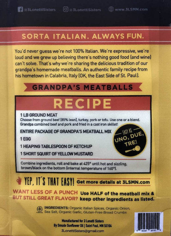 Grandpa's Meatball Mix by 3 Lonetti Sisters