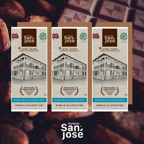 Hacienda San Jose: Dark Milk Chocolate bar & 55% Chocolate bar _3 bars pack