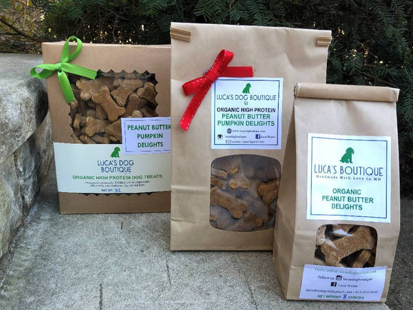 Luca's Organic Peanut Butter Pumpkin Dog Treats - 3 Pound Bulk - TEEN OWNED AND OPERATED!