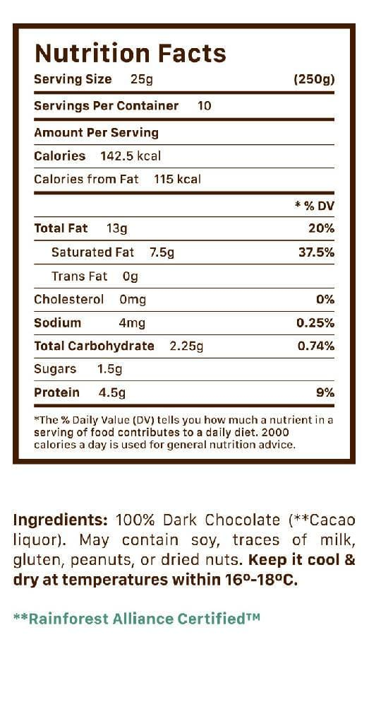 100% Dark Chocolate- Dark Chocolate bite size by Hacienda San Jose: Chocolate disks - bag 250 grams (8.82 oz)