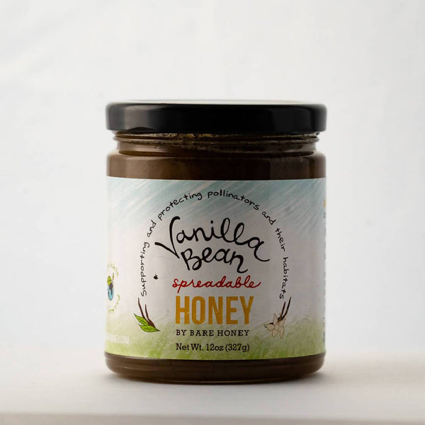 Bare Honey | Vanilla Bean Spreadable Honey | 12 oz Glass Jar