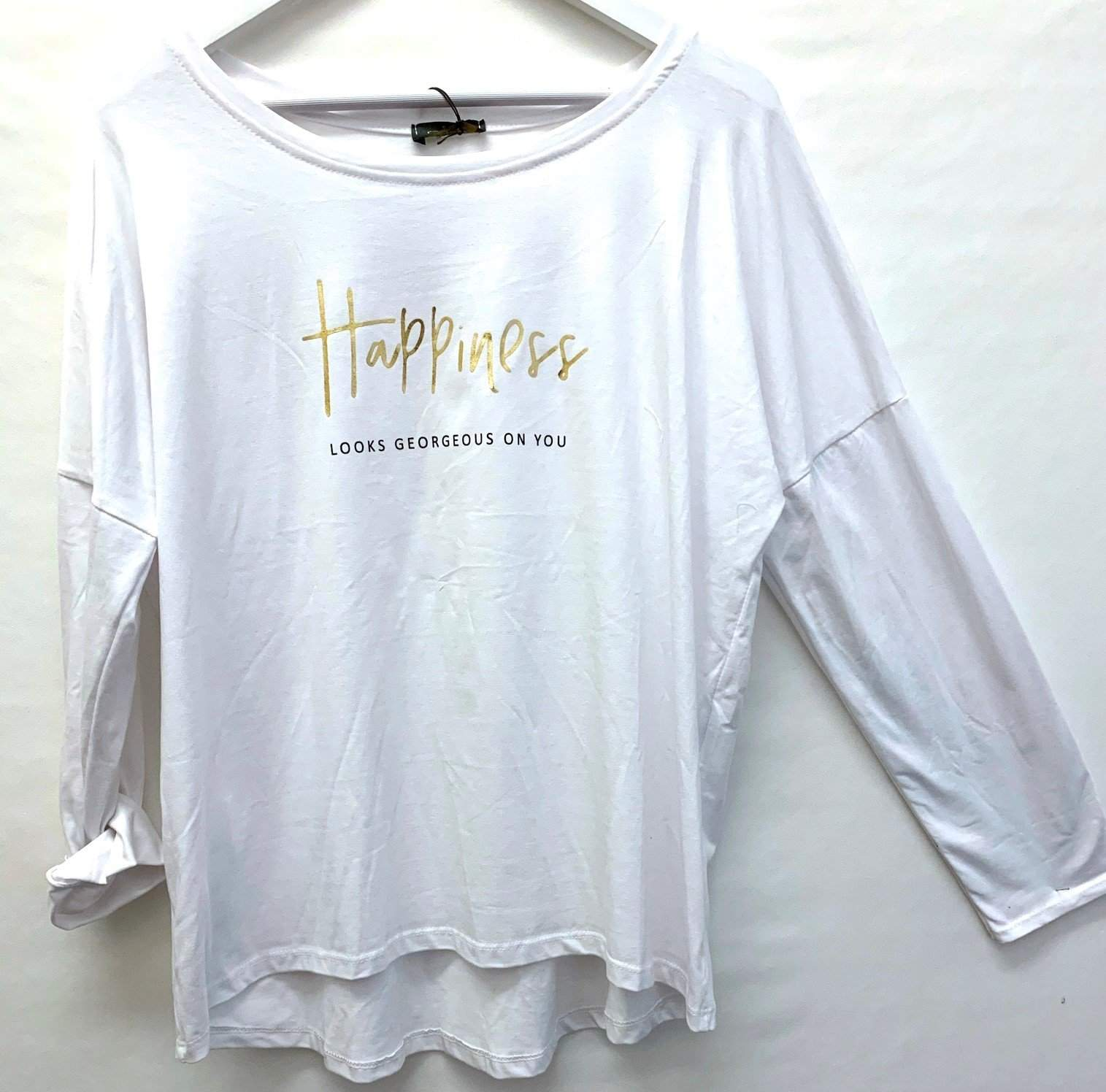 "SHIRT LONGSLEEVE WHITE ""HAPPINESS"" ONE SIZE"