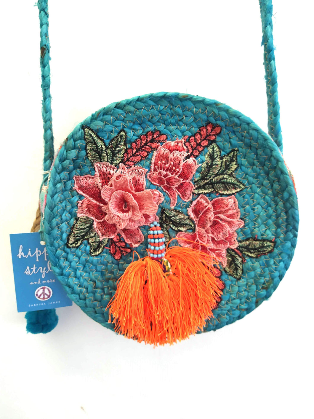 TASCHE BAST TURQUOISE FLOWERS
