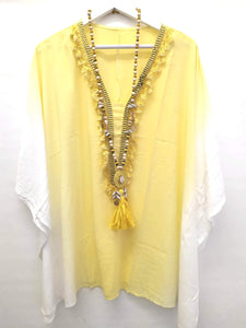 PONCHO YELLOW WHITE ONE SIZE