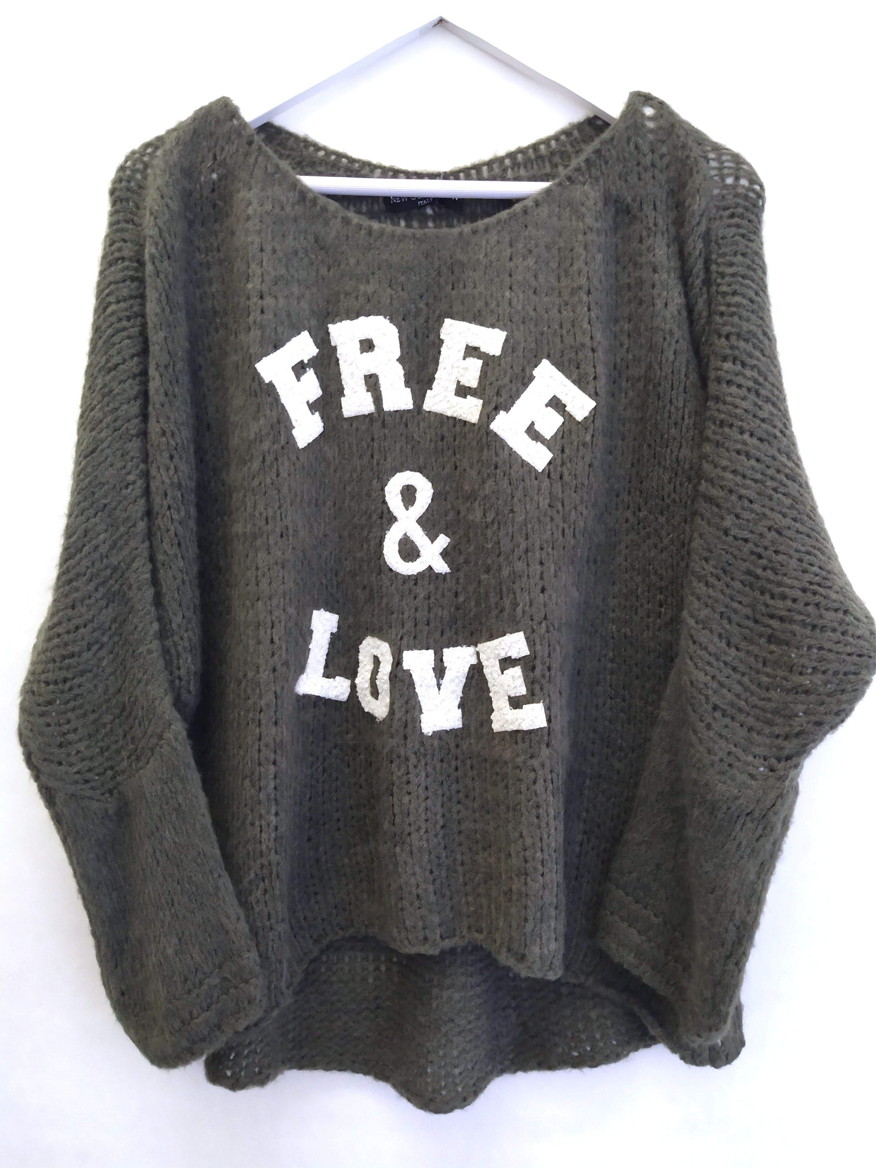 "PULLOVER OLIV ""FREE & LOVE"" ONE SIZE"