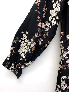 MIDI KLEID BLACK FLOWERS ONE SIZE