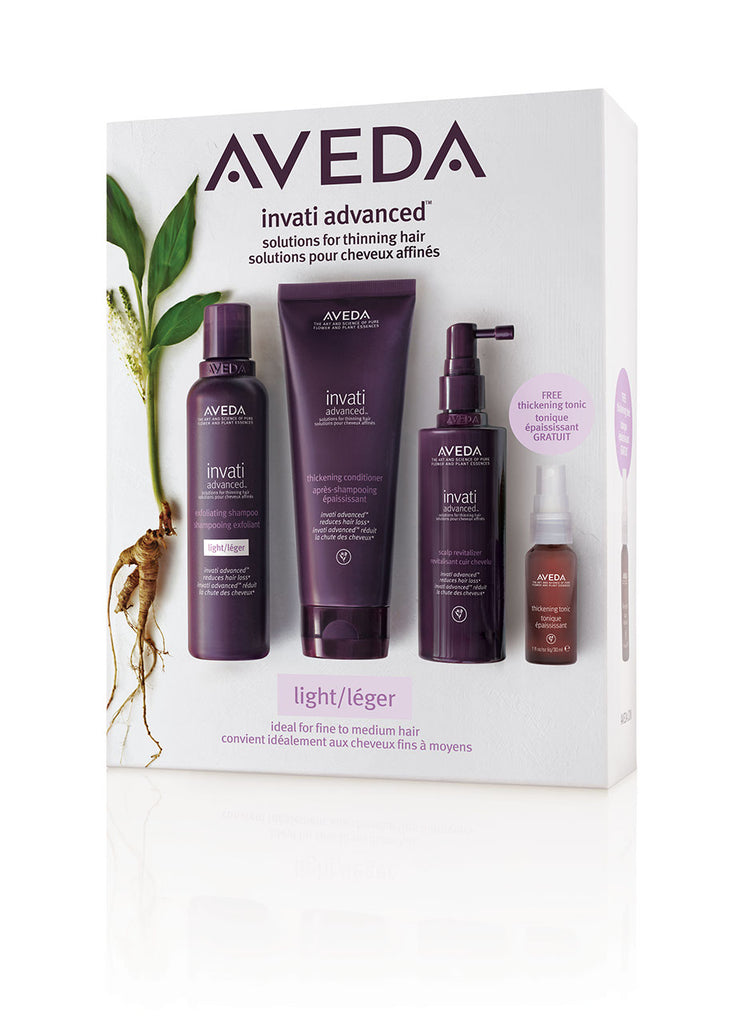 Invati pakki Light með sjampói 200ml, næringu 200ml, scalp revitalizer 150ml og thickening tonic 30ml.
