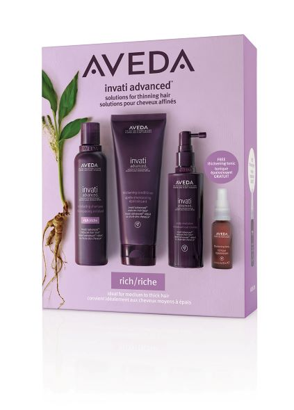 Invati pakki Rich með sjampói 200ml, næringu 200ml, scalp revitalizer 150ml og thickening tonic 30ml.