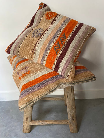 Kilim Cushion Set 50cmx50cm Beige Stripe - Shirdak