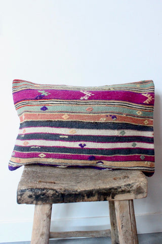Kilim 40cmx60cm Stripe Pink Cushion