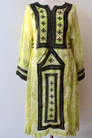 Balochi Dress lime green - Shirdak