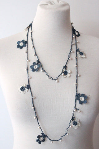 Garland Necklace Blue Pearl