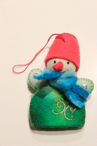 Funny Snowman with blue scarf