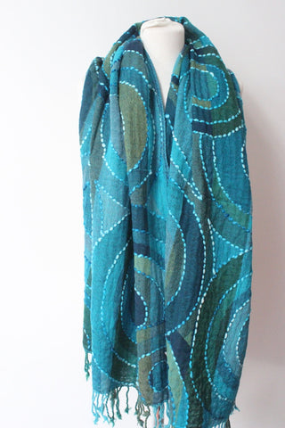 Cashmere Turquoise circles scarf