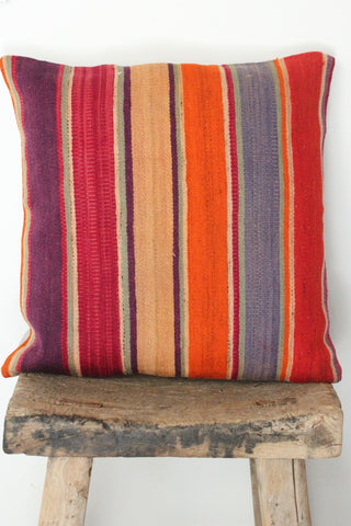 Kilim 50cmx50cm Warm stripes cushion - Shirdak