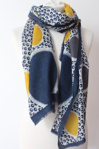 Impression Ball Yellow Navy Scarf - Shirdak
