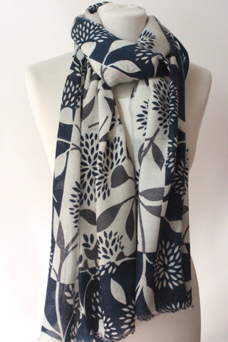 Blossom White Blue Scarf - Shirdak