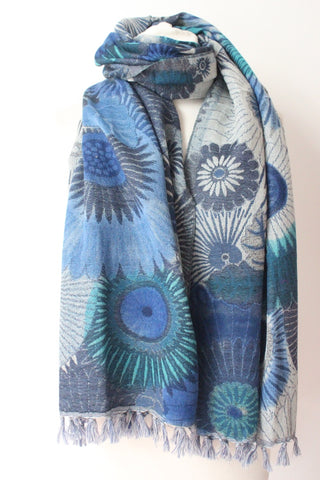 Painted Blue Scarf - Shirdak