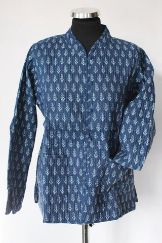 Blue Blockprint Coat - Shirdak
