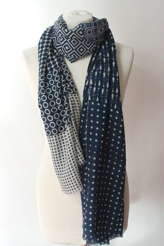 Coin Dot White Blue Scarf - Shirdak