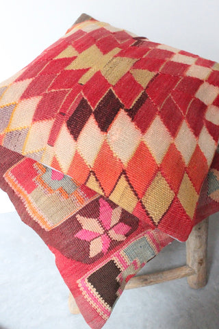 Kilim Cushion Set 50cmx50cm Pink Collage