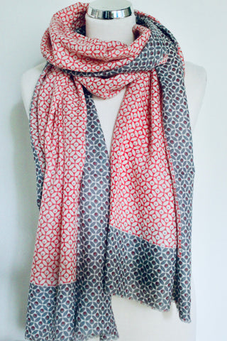 Lotus White Pink/Grey Scarf - Shirdak