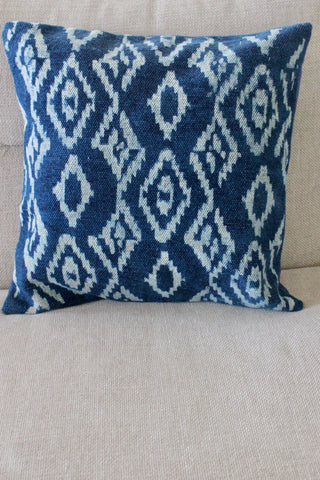 Indigo Ikat 50x50 cushion - Shirdak